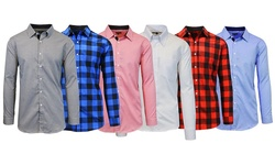Men's Slim Fit Woven Shirts: Black/Red/Large