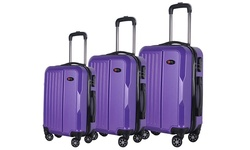 Brio 3 Piece Hardside Spinner Luggage Set - Purple