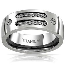 Sterling Silver Men's Titanium Double Wedding Band - SS - Size: 8mm
