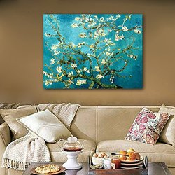 Wieco Art - Almond Blossom Oil Paintings Canvas Wall Art - XL