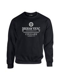 NCAA Byu Cougars Classic Seal Crew Neck Sweatshirt - Black - Size: Medium