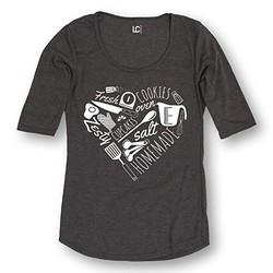 Women's Baking Heart Tee-Shirt - Heather Charcoal - Size: XXL
