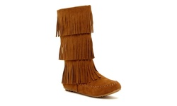 Boho Festival Fringe Boots - Tan - Size: 9