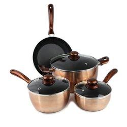Khome's Aluminum 7-Piece Metallic Copper Cookware Set - Golden