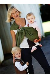 Maya Wrap Lightly Padded Ring Baby Sling Carrier - Olive Green - Medium
