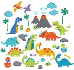 Dino Friends Decorative Peel & Stick Wall Art Sticker Decals