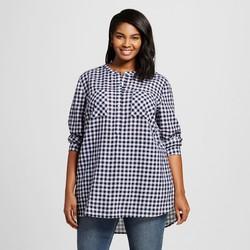 Merona Women's Plus Size Button Down Shirt - Navy-Size : 3XL