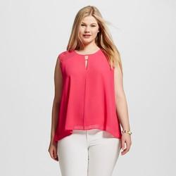 Women's Plus Size Pleat Yoke Sleeveless Blouse - Raspberry Sorbet -Sz: 18W