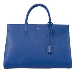 Saint Laurent Cabas Rive Gauche Bag Grained Leather - Blue - Size: Medium