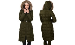 Kensie Maxi Long Down Coat with  Faux Fur - Charcoal - Size: Small