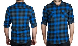 Straightfaded Men's Long Sleeve Flannels - Blue - Size: Small