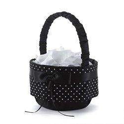 Polka Dot Flower Basket Black and White One Size