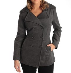 Women's Wool 3/4 Length Double Breasted Peacoat: Grey/large