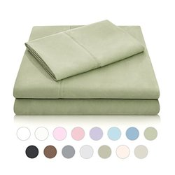 MALOUF Double Brushed Microfiber Super Soft Luxury Bed Sheet Set - Wrinkle Resistant - Twin Extra Long Size - Fern