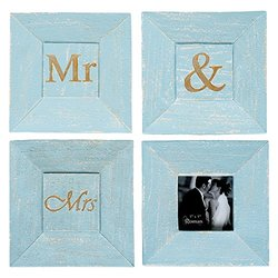 Mr & Mrs Turquoise Blue Wall Art Sign Plaques with 3 x 3 Picture Frame, Set of 4