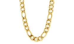 "West Coast Men's Gold Plated Stainless Steel 24"" Figaro Chain Necklace"