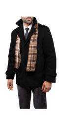 Braveman Men's Wool Blend Coats with Scarf - Black - Size: Medium