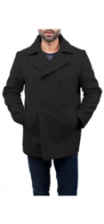 Braveman Men_s Double Breasted Wool Blend Coats - Charcoal - Size: M