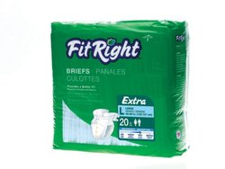 Medline 20 Ct FitRight Extra Briefs - Size: Large