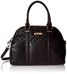 Dolce Girl Quilted Satchel Bag, Black, One Size