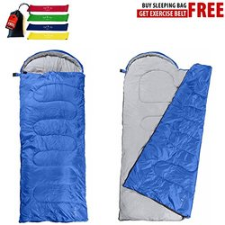Big and Tall Cold Weather Portable Lightweight Zippers Sleeping Bag - Blue