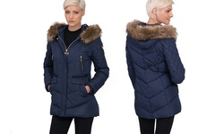 Kensie Women's Knit Trim Quilted Puffer Coat - Black - Size: XS