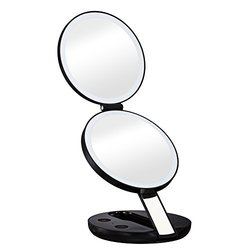 Gotofine LED Lighted Travel Makeup Mirror with 10x Magnifying Mirror - Double-sided Luxury Compact Folding Handheld Cosmetic Mirror Magnifies 10x on One Side and 1x on the Other