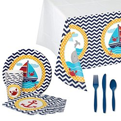 Ahoy Matey Tableware Party Bundle for 16: Plates, Napkins, Cups, Tablecover, and Cutlery