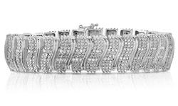 2cttw Diamond Bracelet - White High Polish S Bar