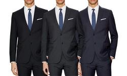 Verno Men's Classic-fit Pinstripe Suit: Navy / 34rx28w