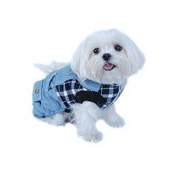 Blue and White Plaid Top with Denim Overalls Dog and Pet Outfit  One-Piece