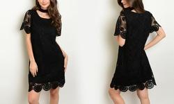 Women's Junior Black Lace Short Sleeve Mini Dress - Size: Small