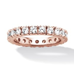 Palm Beach Women's 2CT Round CZ Rose Gold Sterling Silver Eternity Band