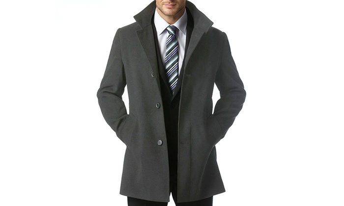 e64bb078c7bc ... Braveman Men s Single Breasted Wool Blend Coat - Charcoal - Size  Small  ...