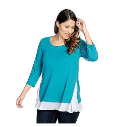 Kate & Mallory 3/4 Sleeved Side Zipper Top - Teal/White - Size: 3X