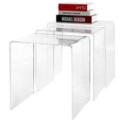 MyGift Modern Designer 3 Pc Set Nesting Coffee Side End Tables - Clear