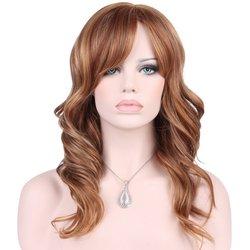 KeeWig Synthetic Long Blonde Wig 3 Tones Auburn Blonde