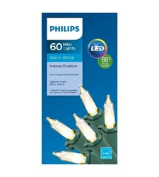 philips 60 count led mini string christmas lights warm white