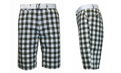 Galaxy by Harvic Men's Flat-Front Gingham Belted Shorts - Taupe - Size: 30