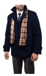 Braveman Men's Single Breasted Wool Blend Coat - Navy - Size: Medium