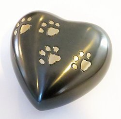 Funeral Heart Keepsake Urn by Liliane - Cremation Urn for Pet Ashes - Hand Made in Brass - Fits a small amount of Cremated Remains and Ashes of Dogs, Cats or other animals - Attractive Display Burial Urn (Footprints Model)