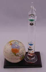 G W Schleidt Globe with Wood Base & Thermometer - Tan - Size: 4""