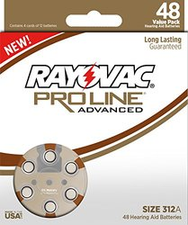 48 Pack Rayovac Proline Advanced Size 312 Hearing Aid Batteries