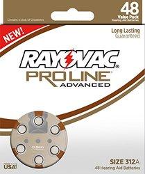 48 Pack Rayovac Proline Advanced Size 312 Hearing Aid Batteries