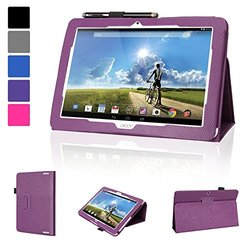 Evecase Acer ICONIA Tab 10 A3-A20 Case, SlimBook Leather Folio Stand Case Cover with Magnetic Closure for Acer ICONIA Tab 10 A3-A20 HD / A3-A20FHD WIFI 10.1-inch Android Tablet - Purple