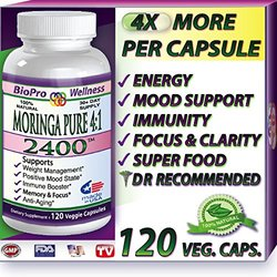 Pure Moringa Oleifera, 2400mg Daily, #1 Focus Brain Mood Memory SuperFood Plus Immune Defense Booster - Healthy Brain Anti Aging Whole Super Foods Diet Supplements for Seniors, Adults, Teens & Children Organic Tree Leaf Powder Pills, 120 Vegetarian Capsul