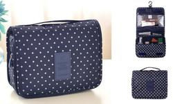 Yellow Thread Women's Waterproof Cosmetic Toiletry Bag - Navy Blue