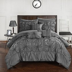 Chic Home CS3583-AN 10 Piece Springfield Floral Pinch Pleat Ruffled Designer Embellished Bed In A Bag Comforter Set With Sheet Set, Queen, Charcoal