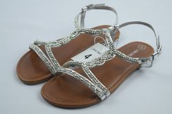 Cherokee Girl's Britt Jeweled Slide Sandals - Silver - Size: 4