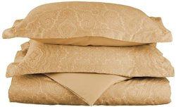 Impressions 600TC Blend Paisley Duvet Cover Set - Sand - Size: King/C King